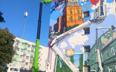 Podnośniki w przestrzeni miasta – mural SawBud.